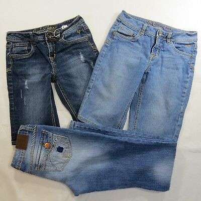 (*.*) JUSTICE Girls Blue Jeans and Shorts Denim Lot of 3 Size 12 14