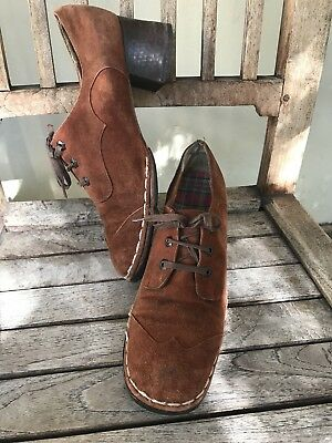 Meschell Faris Sz 7 Vintage Brown Suede Lace Up Shoes Mid Heel Gorgeous!!