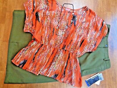 Womens Plus Top 2X Blouse/Size 16 Skirt w/Matching Necklace Full 3 Pc Outfit
