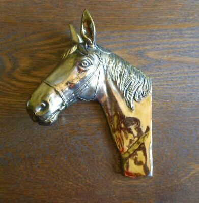 Vintage Brass Finish Horse Head Wall Plaque