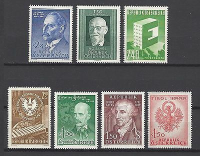Austria 1958-9 Sc#635//45  Seven Single Stamp Issues  MH