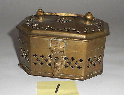 VINTAGE Indian BRASS pierced metal CRICKET CAGE hinged top box nice patina 1