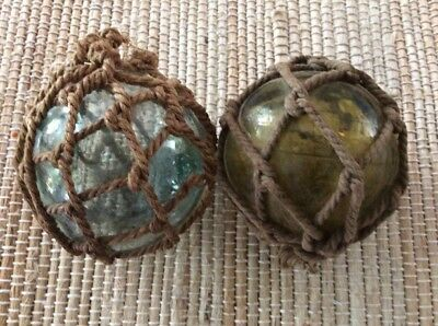 2 Japanese Style Glass Fishing Net Float Authentic Old Vintage Japan Buoy