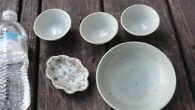 5 pcs chinese green celadon cups bowl dish antique old marked porcelain pottery