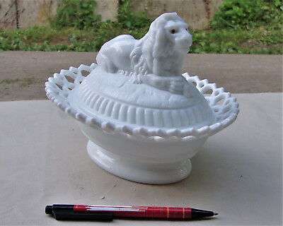 Rare c1890 ATTERBURY LION Covered Dish or Bowl, Opalescent Milk Glass