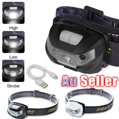 LED Head Torch CE Camping Induction USB Rechargeable Headlight Lamp Headlamp