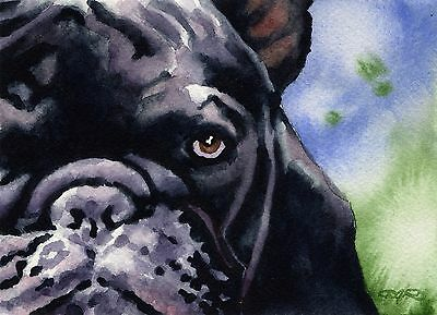 FRENCH BULLDOG Painting Dog 8 x 10 ART Print Signed by Artist DJR