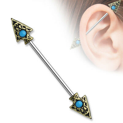 ARROW SPEAR Stainless Industrial Bar Scaffold Ear Barbell Rings PIERCING JEWELRY