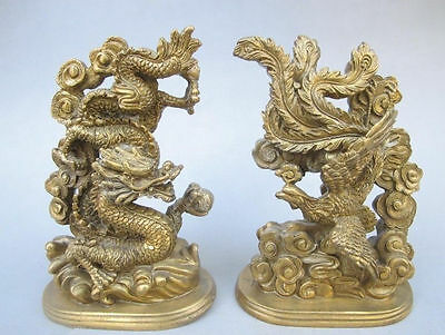 The ancient Chinese handmade bronze statue of a dragon phoenix mascot NR f02