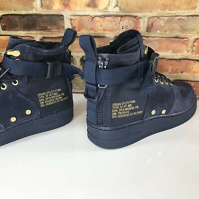 Nike SF AF1 Mid Air Force 1 Sneaker Mens Size 10.5 Obsidian Suede 917753 400 b39382d3a13