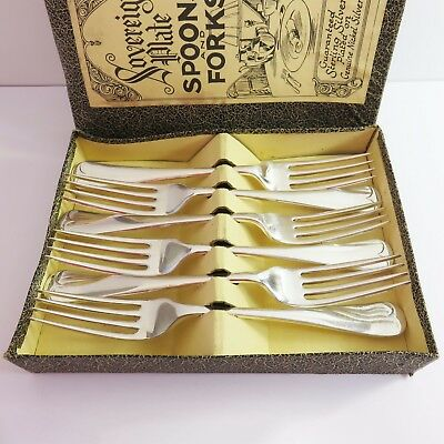Vintage Sovereign Plate Silverplate Cutlery 6 pc Dessert Forks Set, England
