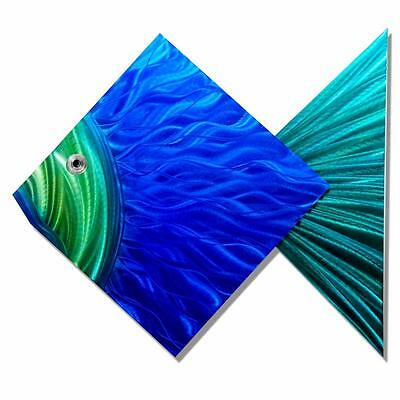 Tropical Island Beach Decor Modern Metal Fish Wall Art Accent - Big Blue Fish