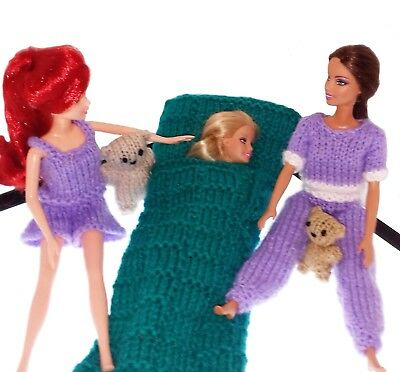 "Sleepover Party Barbie Knitting Pattern For 11/12"" Dolls +Teddies & Sleeping Bag"