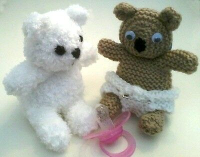 Pram Charm / Toy, Cute Baby Teddy Dummy Holder, Easy Knitting Pattern