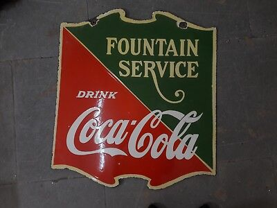 """Old vintage PORCELAIN DRINK COCA COLA FOUNTAIN SERVICE enamel 22.5"""" x 25"""" Inches"""