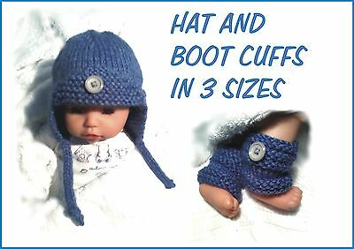 Baby Boy / Reborn Hat And Boot Cuffs. Chunky Quick Knitting Pattern, 3 Sizes