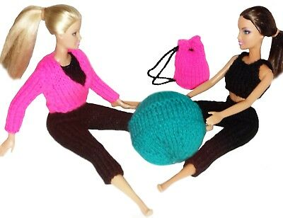 Knitting Pattern: Gym Workout Barbie Doll Outfit + Gym Bag & Exercise Ball