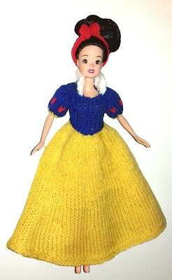 "KNITTING PATTERN FOR BARBIE, DISNEY PRINCESS, 11 to 12"" DOLL: SNOW WHITE OUTFIT"