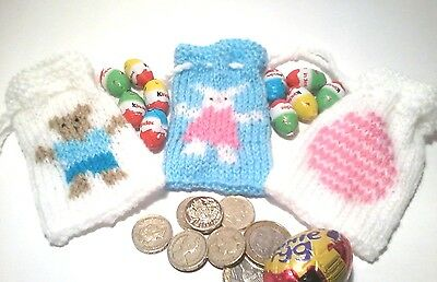 3 Easter Gift Bag Knitting Patterns, Bunny,  Teddy And Egg Designs