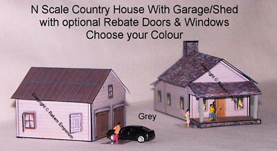 N Scale Country House & Garage with Optional Rebates  Model Railway Building Kit
