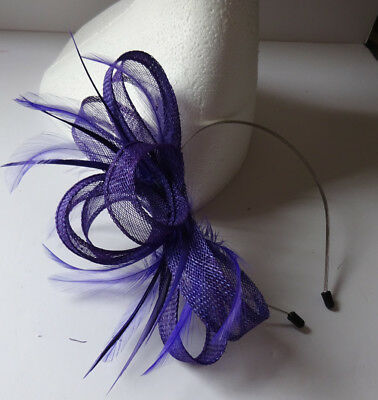 Purple fascinator on headband for wedding/mother of the bride/ascot/bridesmaids