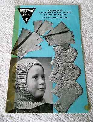 ORIGINAL, VINTAGE, 1940's, BESTWAY KNITTING PATTERN, No.A2624 BALACLAVAS & MITTS