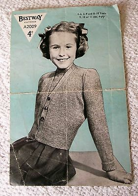 ORIGINAL, VINTAGE, 1940's, BESTWAY KNITTING PATTERN, No. A2009 GIRL'S TWINSET.