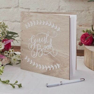 Ginger Ray Vintage Wooden Wedding Guest Book - BH-744