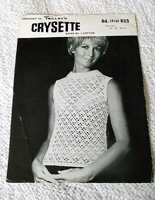 ORIGINAL, VINTAGE, TWILLEY'S, CROCHET PATTERN, No.825 SLEEVELESS BLOUSE.
