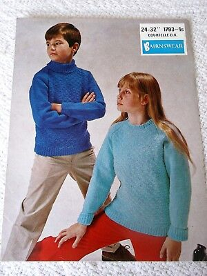ORIGINAL VINTAGE BAIRNSWEAR KNITTING PATTERN No.1793 CHILD'S SWEATERS