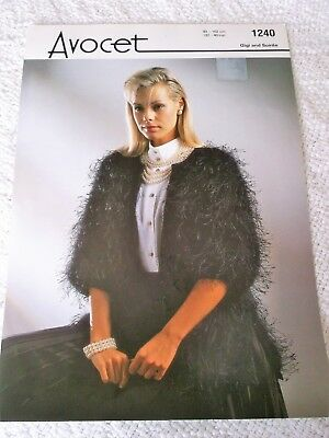 ORIGINAL VINTAGE AVOCET KNITTING PATTERN No. 1240 EDGE to EDGE JACKET, 2 lengths