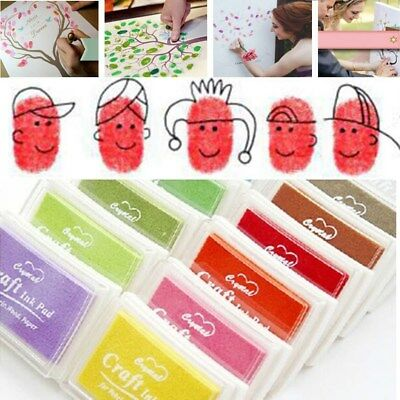 12X Oil Based Ink Pad For Rubber Stamps Paper Wood Fabric New Multi Colour DIY