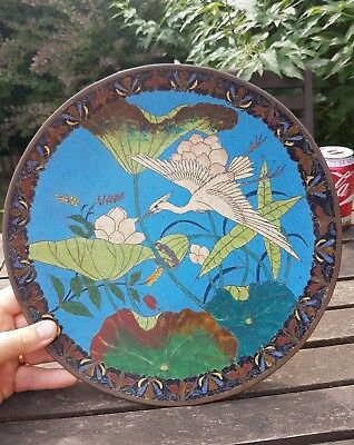 "A Japanese/Chinese 12"" Cloisonne charger Plate, Meiji stork antique"
