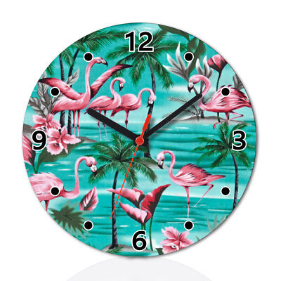 Flamingo Flower Pattern Lovely Round Wall Clock Home Office Room Decor