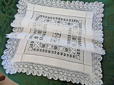 """Gorgeous Hand Drawn Thread/Hand Knitted Lace Table/Dresser Centre19""""x26.5"""""""