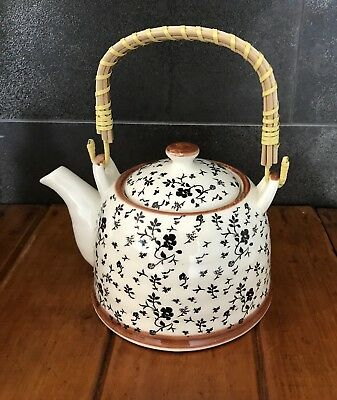 Teapot Ceramic & Rattan With Stainless Steel Infuser Black Flower Design / Gift