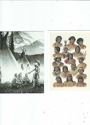 2 Ethnic Postcards  Red Indian