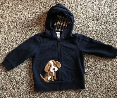 Gymboree Dog Sweatshirt With Hoodie And Zipper Size 12-18 Months Shirt Boys