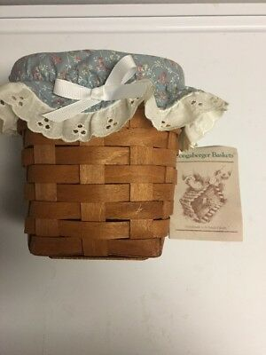 Longaberger Tissue Basket, Cloth Top Lid, 1989, With History Brochure