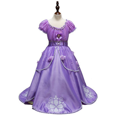 Girls Sofia the First Tutu Dress Costume for Party Birthday Size 4-12 years
