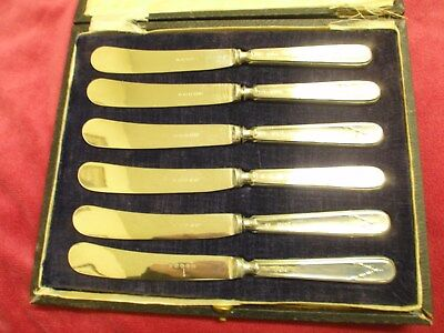 Set Of Six Antique Silver Handled Butter Knives Sheffield 1917