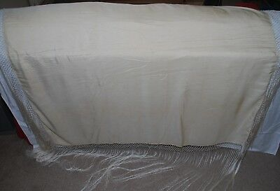 "Lovely Antique 50"" Cantonese Cream Silk Piano/Bridal Shawl Or Sofa/Bed Throw"