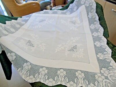 Stunning Linen Hand Worked Tablecloth,Mimosa,Hand Crochet,Hand Drawn Threads GC