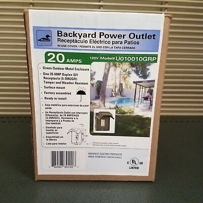 One (1) 20A GFI Outlet Weather Resistant Steel Housing - Midwest Electric