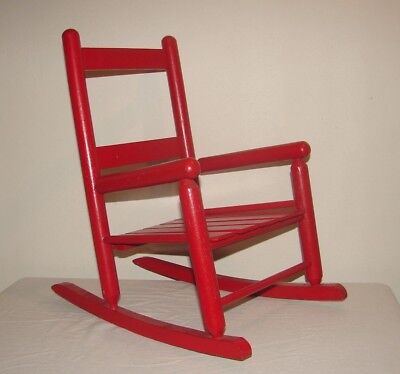 Vintage Painted Wooden Child's Rocker Chair Red