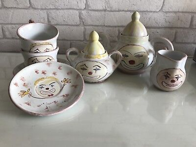 Vintage 1980s Clown Teapot Set Afternoon Tea Antique
