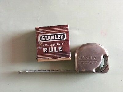 Vintage Tool!  Stanley Pull Push Measuring Tape No. 6386W 72 In. W Original Box