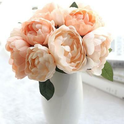 Artificial Silk Large Peony Flower Stem Bouquet -  Apricot