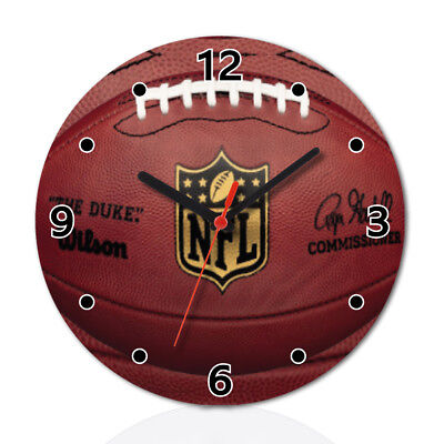 American Football Funny Round Wall Clock Home Office Room Decor