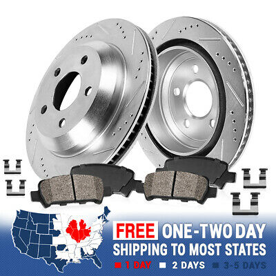 Front 305 mm And Rear 288 mm Brake Rotors /& Ceramic Pads For Volvo S60 S80 V70